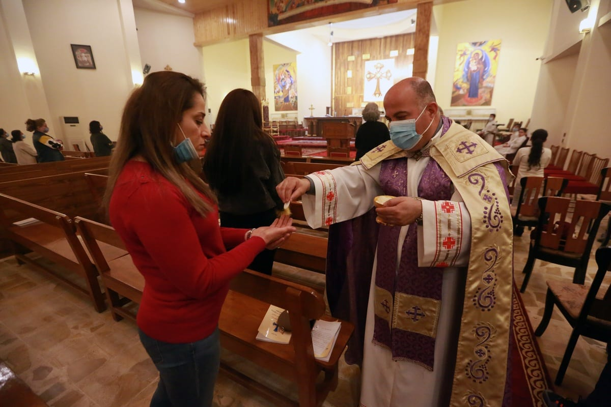 BAGHDAD, IRAQ - FEBRUARY 28: Religious mass held at St. Joseph Chaldean Catholic Church ahead of Pope Francis' visit on 5-8 March at Cathedral of Saint Joseph, also known as Cathedral of Mar Yousif in Baghdad, Iraq on February 28, 2021. ( Murtadha Al-Sudani - Anadolu Agency )