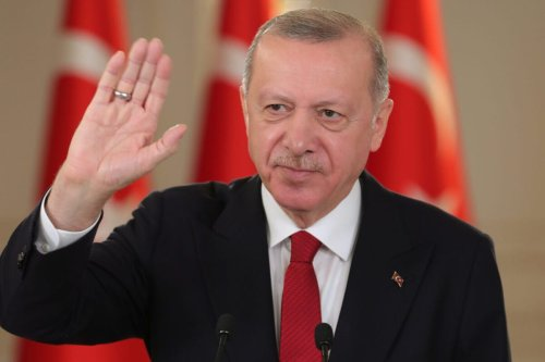 Turkish President Recep Tayyip Erdogan attends the Observer Day activity of Blue Homeland-2021 Exercise, via video conference call at the Vahdettin Pavilion in Istanbul, Turkey on March 06, 2021 [Mustafa Kamacı / Anadolu Agency]