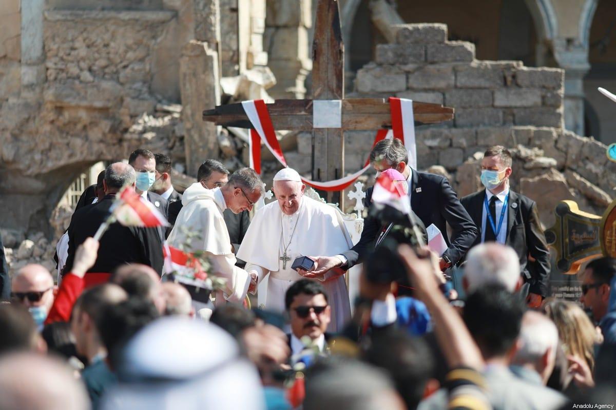 Pope Francis (C) attends the ceremony at Church Square of Hosh al-Bieaa in Mosul, Iraq on March 7, 2021 [Osama Al Maqdoni / Anadolu Agency]