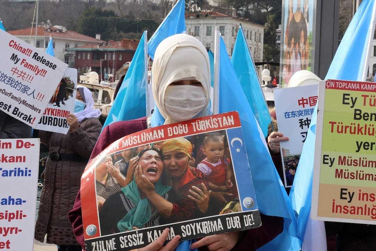 ISTANBUL, TURKEY - MARCH 8: Uighur Turks living in Istanbul stage a demonstration against human rights violations in East Turkistan and China's violent acts against Uighur women near China's Consulate General on the International Women's Day, in Istanbul, Turkey on March 8, 2021. ( Esra Bilgin - Anadolu Agency )
