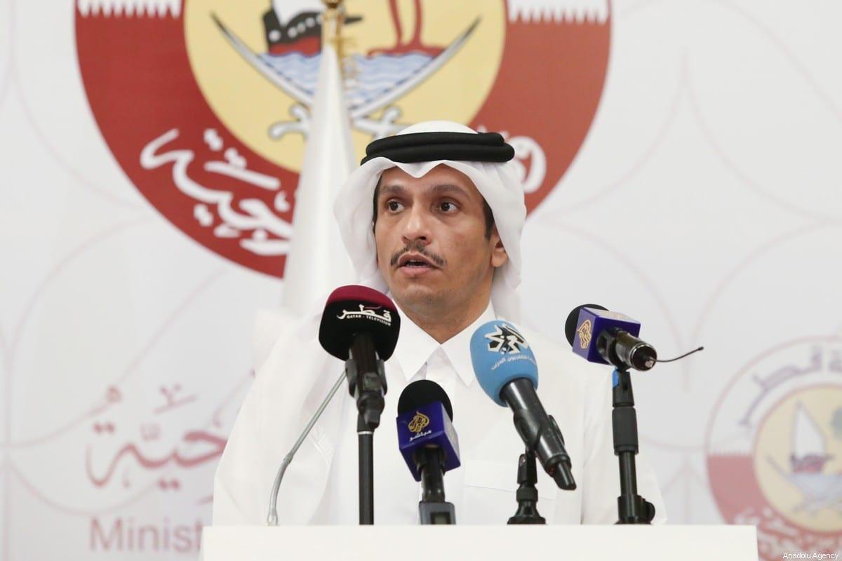 Qatari Minister of Foreign Affairs Mohammed bin Abdulrahman Al-Thani, in Doha, Qatar on 11 March 2021 [Cem Özdel/Anadolu Agency]