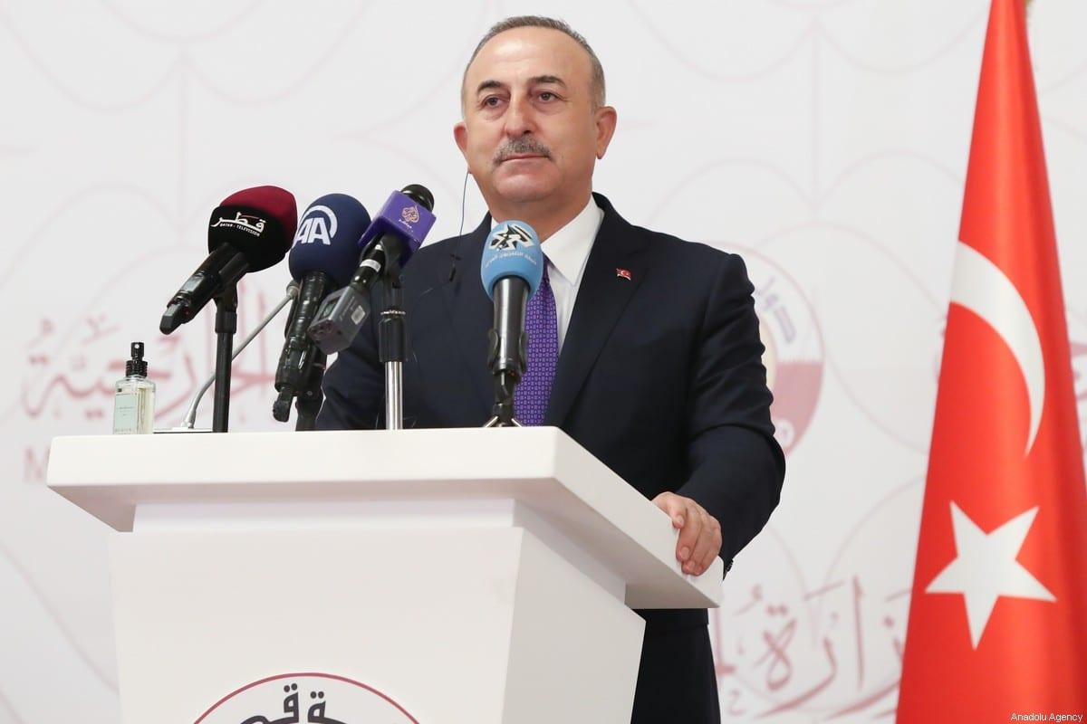 Turkish Foreign Minister Mevlut Cavusoglu in Doha, Qatar on March 11, 2021 [Cem Özdel/Anadolu Agency]