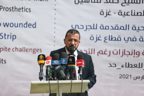 Director General of the hospital Dr. Raafat Labad speaks to press at Sheikh Hamad Bin Khalifa Al-Thani Rehabilitation and Prosthesis Hospital in Gaza City, Gaza on 14 March 2021. [Mustafa Hassona - Anadolu Agency]