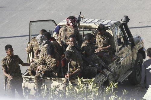 Units of Ethiopian army patrol the streets of Tigray region, in northern Ethiopia on 7 March 2021 [Minasse Wondimu Hailu/Anadolu Agency]