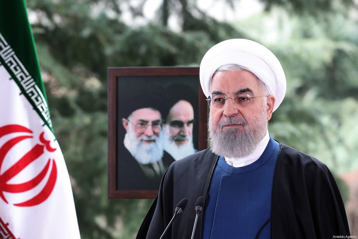 Iranian President Hassan Rouhani makes a statement as part of Nowruz celebrations, in Tehran, Iran on 20 March 2021. [Iranian Presidency - Anadolu Agency]