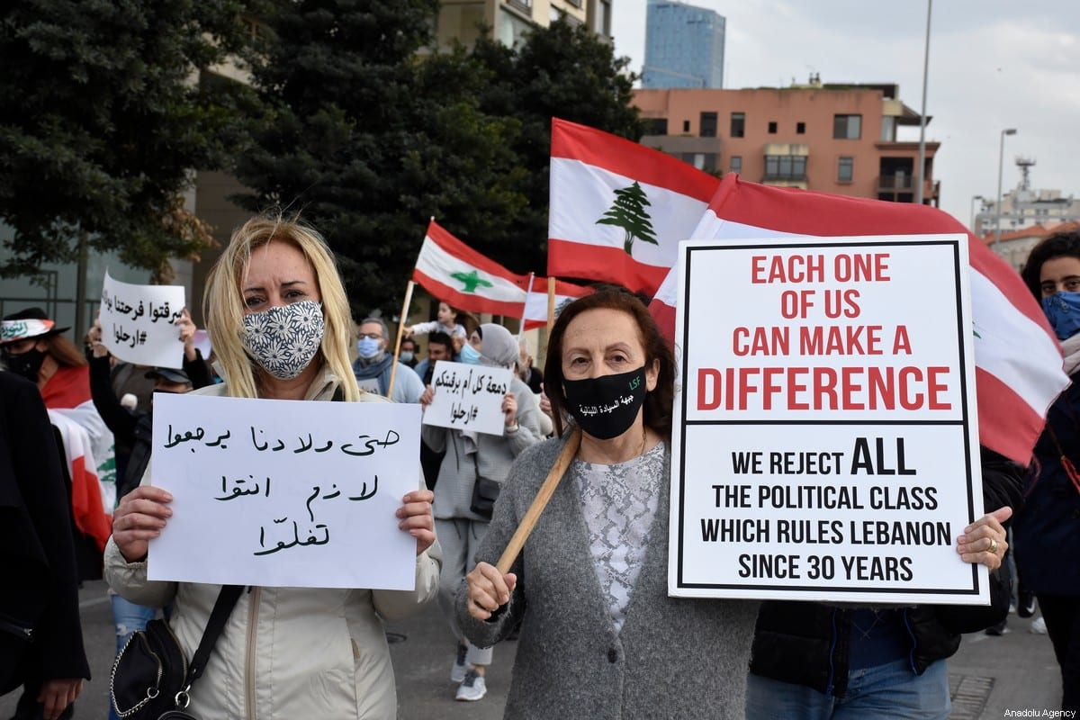 A protest against the living conditions in Beirut, Lebanon on 20 March 2021 [Mahmut Geldi/Anadolu Agency]
