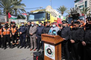 Director General of Civil Defence in Gaza Zuhair Shaheen during a vehicle rally and press conference held to mark World Civil Defence Day by Gaza's civil defence teams on 1 March 2021 [Mohammed Asad/Middle East Monitor]