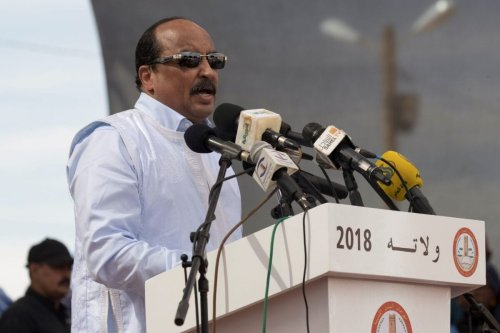 Former Mauritanian President Mohamed Ould Abdel Aziz delivers a speech during the launching of the Old Cities Festival, in Oualata, on November 20, 2018 [THOMAS SAMSON/AFP via Getty Images]
