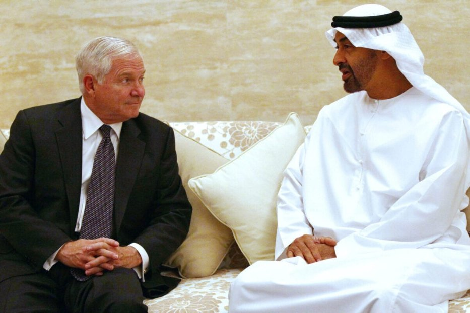 US Secretary of Defence Robert Gates (L) meets with Crown Prince of Abu Dhabi Sheikh Mohammed bin Zayed al-Nahayan at the Mina Palace in the Emirati capital during an official visit to the United Arab Emirates on December 9, 2010 [WIN MCNAMEE/AFP via Getty Images]