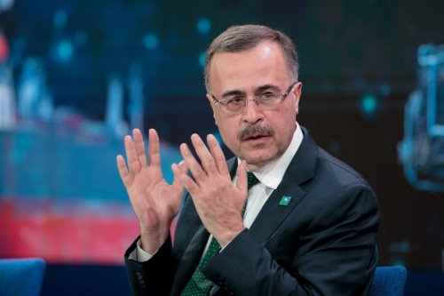 Amin Nasser, chief executive officer of Saudi Aramco, gestures as he speaks during a panel session at the World Economic Forum (WEF) in Davos, Switzerland, on Thursday, January 23, 2020 [Jason Alden/Bloomberg via Getty Images]