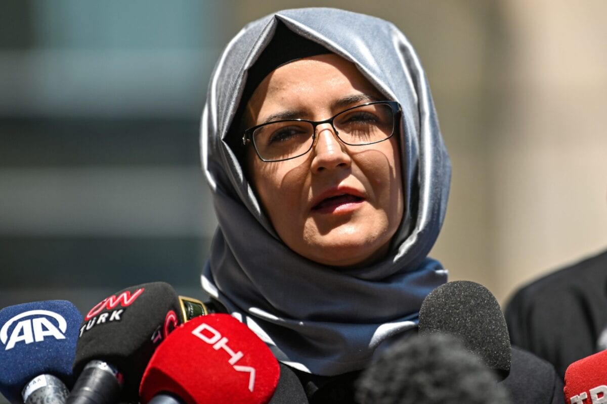 Hatice Cengiz, journalist Jamal Khashoggi's fiancee, speaks to the press as she leaves the Istanbul courthouse on July 3, 2020 [OZAN KOSE/AFP via Getty Images]