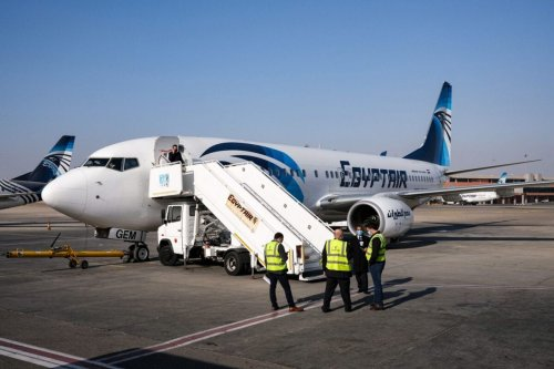 An Egypt Air Boeing 737 aircraft on the tarmac at Cairo International Airport on January 15, 2021 [AMIR MAKAR/AFP via Getty Images]