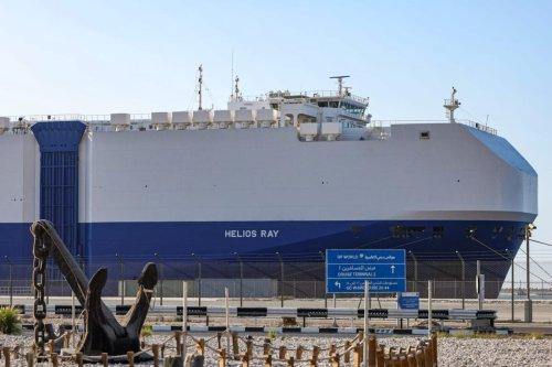 Israeli-owned Bahamian-flagged MV Helios Ray cargo ship docked in Dubai's Mina Rashid (Port Rashid) cruise terminal on February 28, 2021 [GIUSEPPE CACACE/AFP via Getty Images]