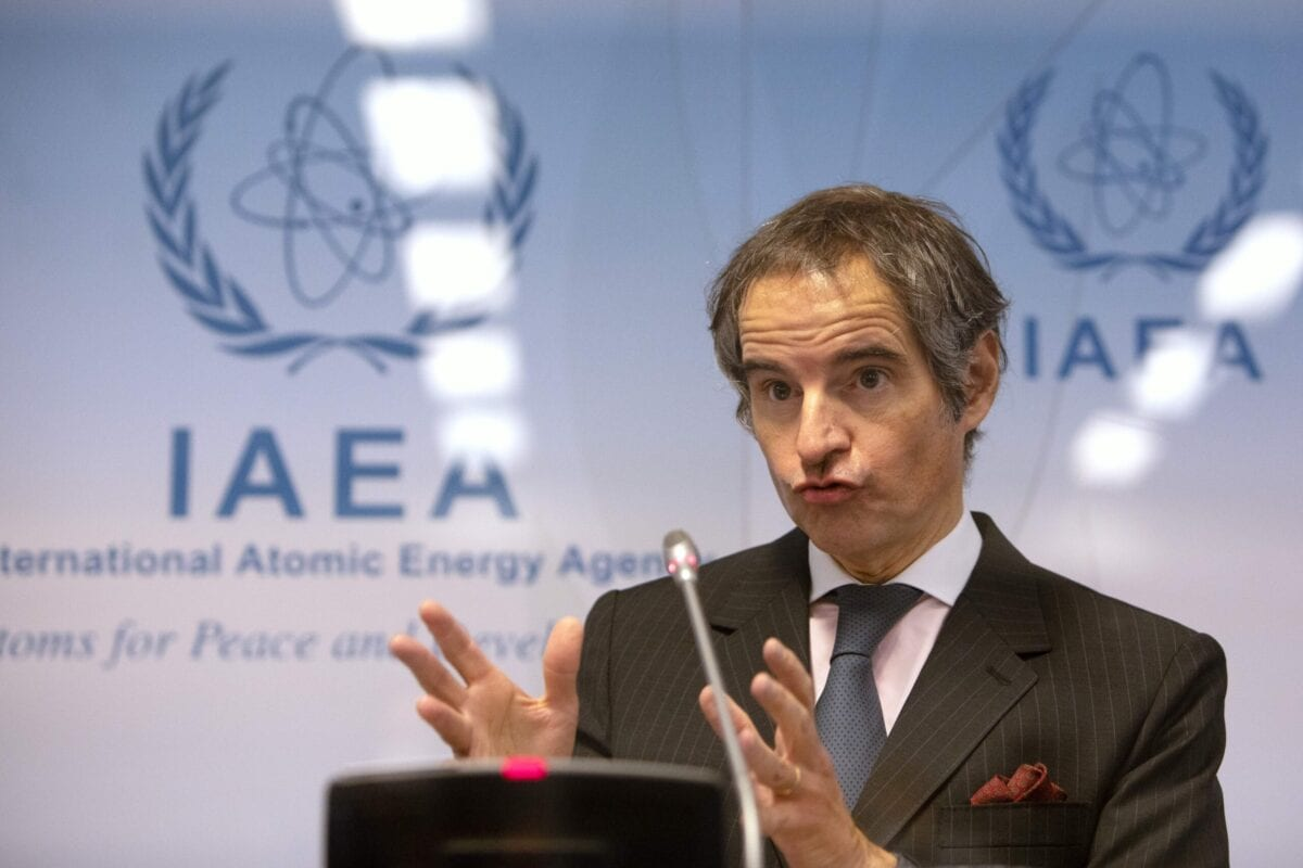 Rafael Grossi (R), Director General of the International Atomic Energy Agency (IAEA), speaks during a press conference at the agency's headquarters in Vienna on March 4, 2021 [ALEX HALADA/AFP via Getty Images]