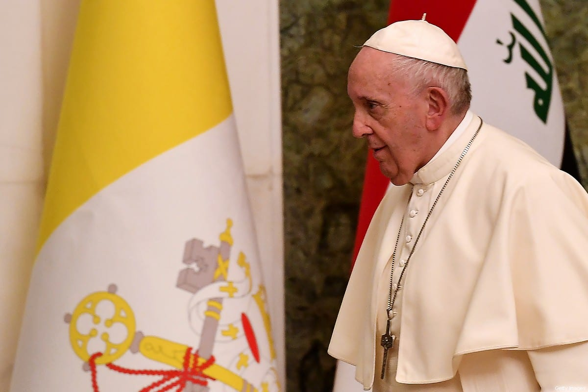 Pope Francis is pictured at the presidential palace in Baghdad on March 5, 2021 on the first papal visit to Iraq [VINCENZO PINTO/AFP via Getty Images]