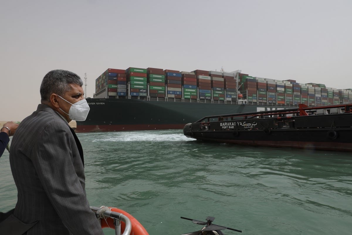 Admiral Osama Rabie, Chairman and Managing Director of the Suez Canal Authority checking the Floatation Works of the Grounding Vessel in the Suez Canal on 25 March 2021 [Suez Canal Media Center]