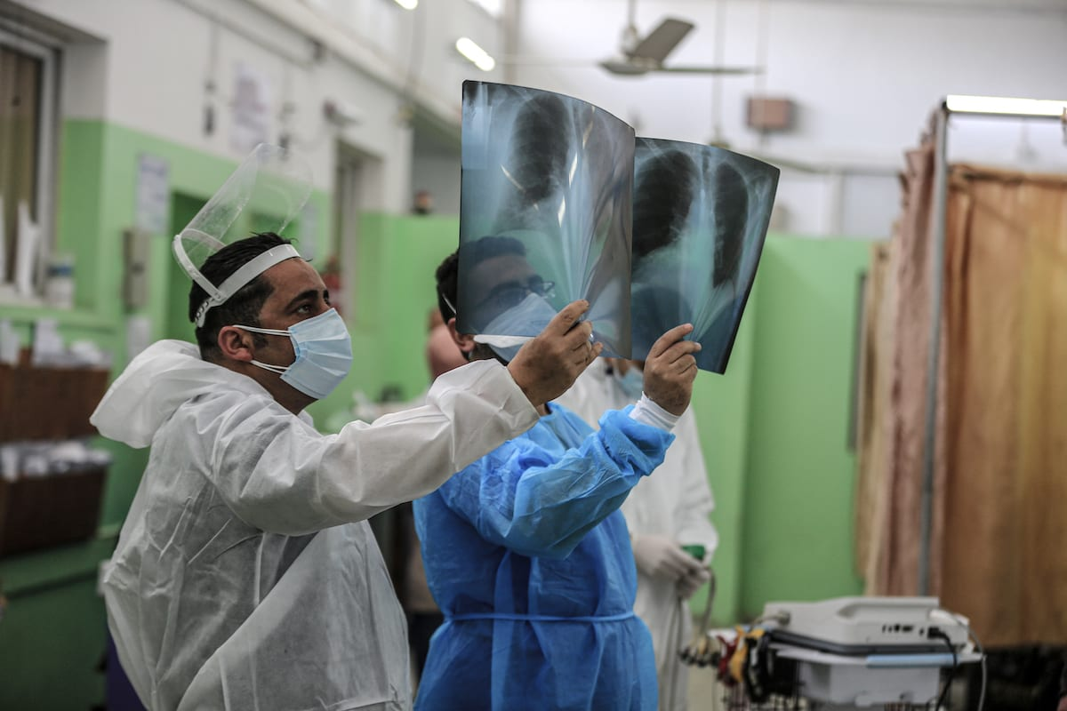 A view of Covid-19 service at a Hospital Gaza on 6 April 2021 [Ali Jadallah/Anadolu Agency]