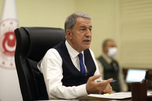 Turkish National Defense Minister Hulusi Akar in Ankara, Turkey on April 13, 2021 [Arif Akdoğan/Anadolu Agency]