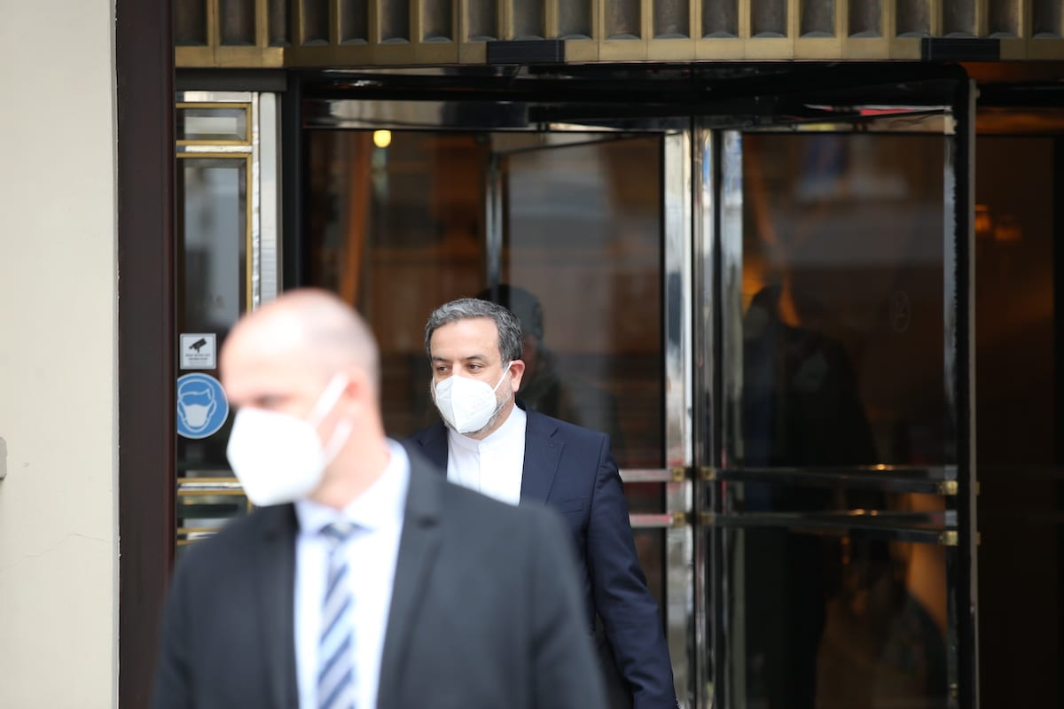"""VIENNA, AUSTRIA - APRIL 17: Iranian Foreign Affairs Minister Abbas Araghchi leaves after attending a session of meeting of the Joint Comprehensive Plan of Action (JCPOA) on """"Iran nuclear deal talks"""" on the second day in Vienna, Austria on April 17, 2021. ( Aşkın Kıyağan - Anadolu Agency )"""