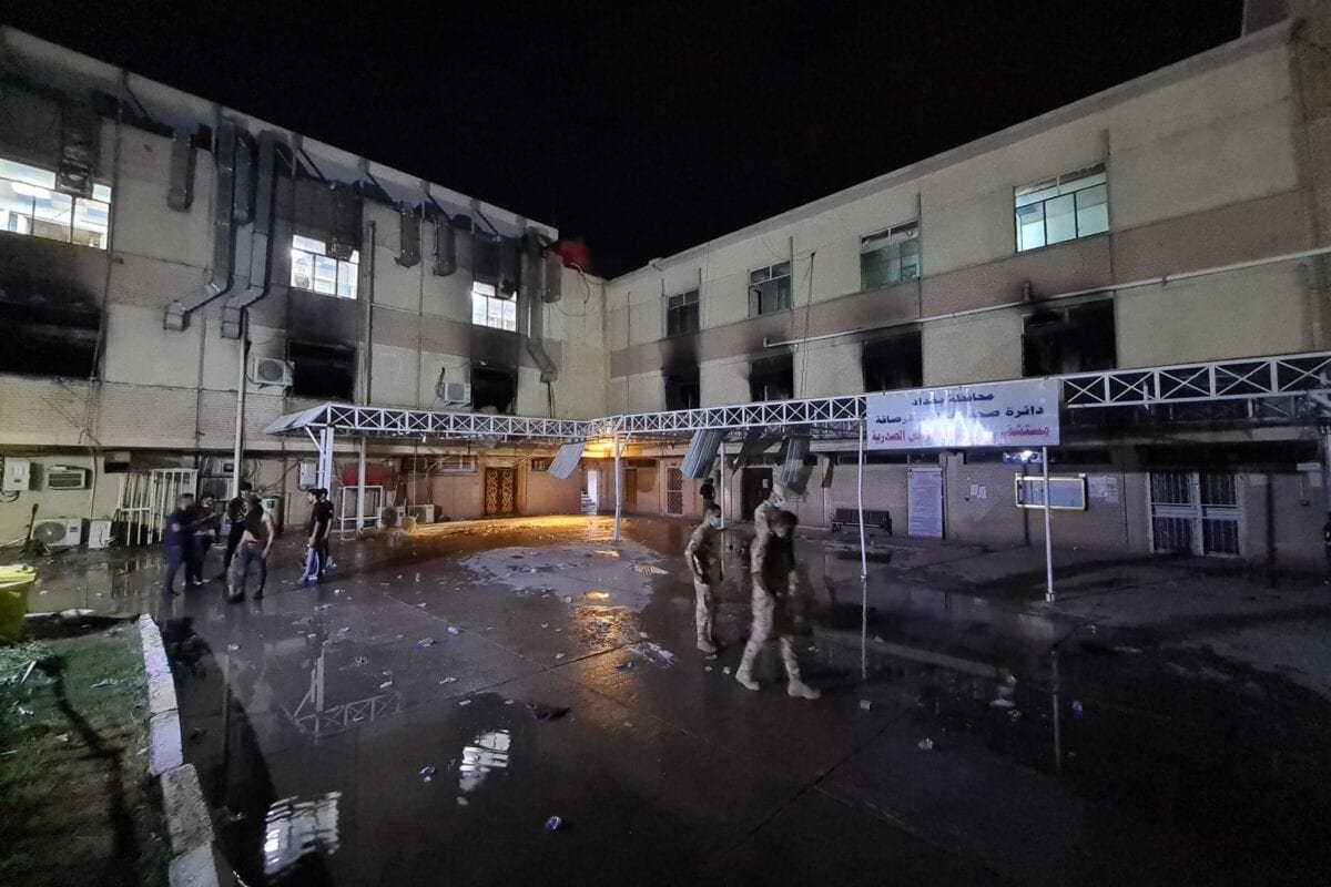 BAGHDAD, IRAQ - APRIL 24: A view of Ibn al-Hatip Hospital as fire erupts at the hospital where coronavirus patients were being treated in Baghdad, Iraq on April 24, 2021. Nearly 20 people died in a fire at a hospital where coronavirus patients were being treated in Baghdad, according to sources on Saturday. ( Murtadha Al-Sudani - Anadolu Agency )