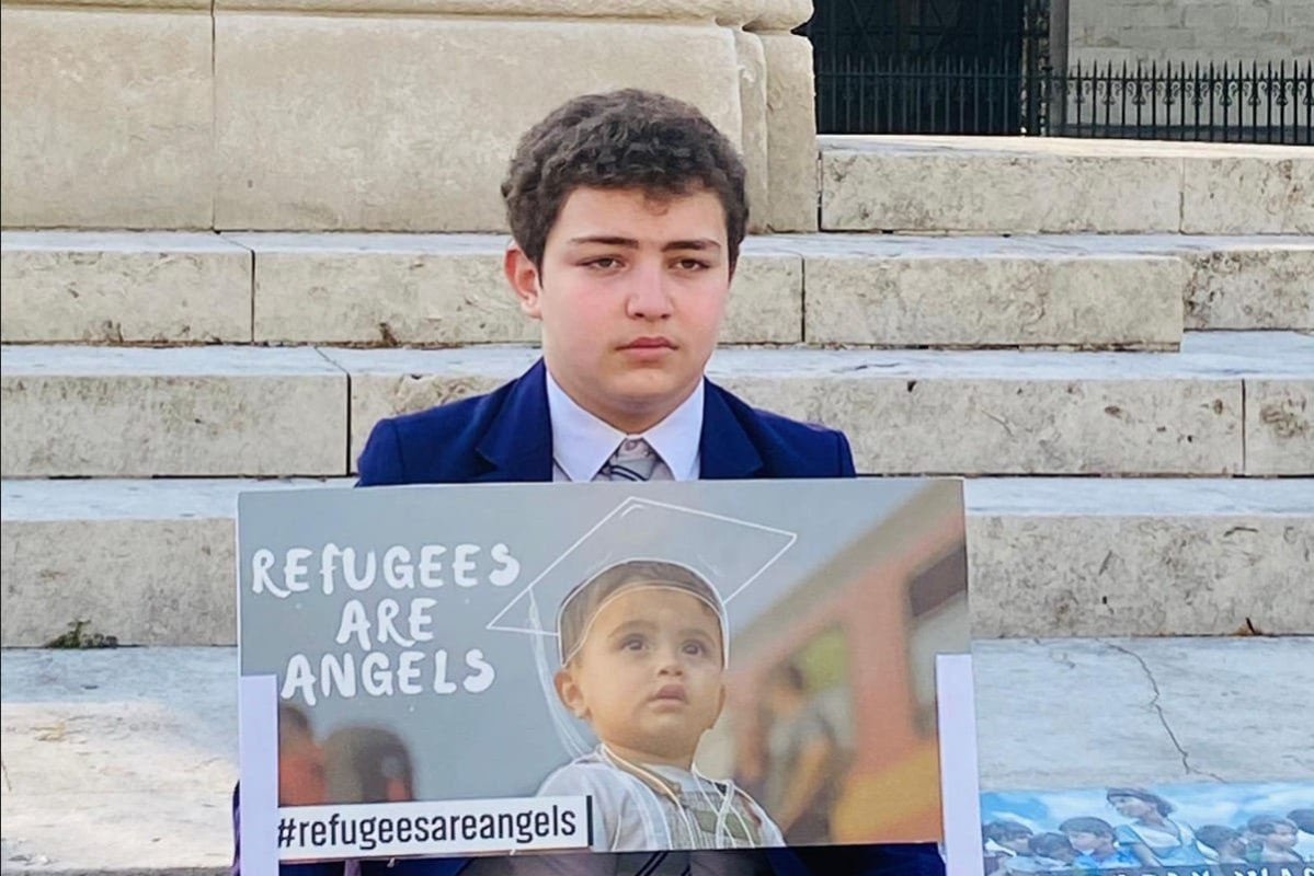 13-year-old Abdullah Najjar, a secondary school boy from a Syrian refugee family, has launched a daily fundraising campaign outside the Houses of Parliament during Ramadan to raise funds for refugee children and inspire 'big people' in government to act to end the refugee crisis.