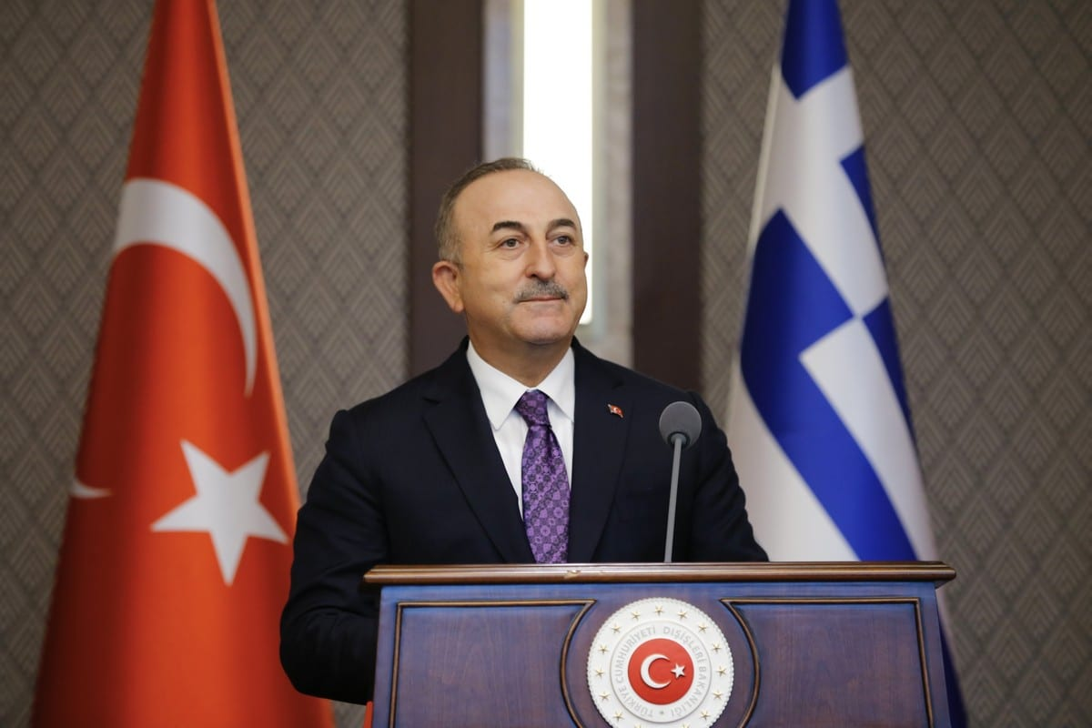 Turkish Foreign Minister Mevlut Cavusoglu makes a speech as he holds a joint press conference with Greek Foreign Minister Nikos Dendias following their meeting in Ankara, Turkey on 15 April 2021. [Fatih Aktaş - Anadolu Agency]