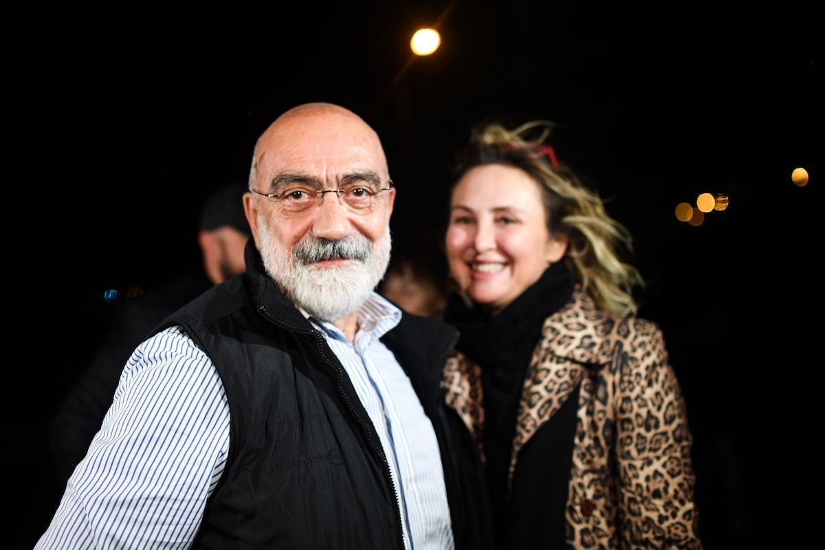 Journalist and writer Ahmet Altan (L) looks on after being realised on 4 November 2019 in Istanbul. [BULENT KILIC/AFP via Getty Images]