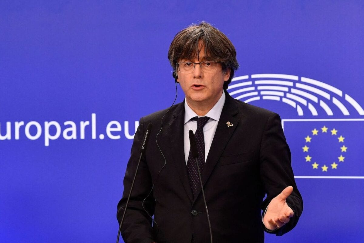 Exiled former Catalan leader and member of European Parliament Carles Puigdemont speaks during a press conference at the EU Parliament in Brussels on 9 March 2021 [JOHN THYS/AFP via Getty Images]