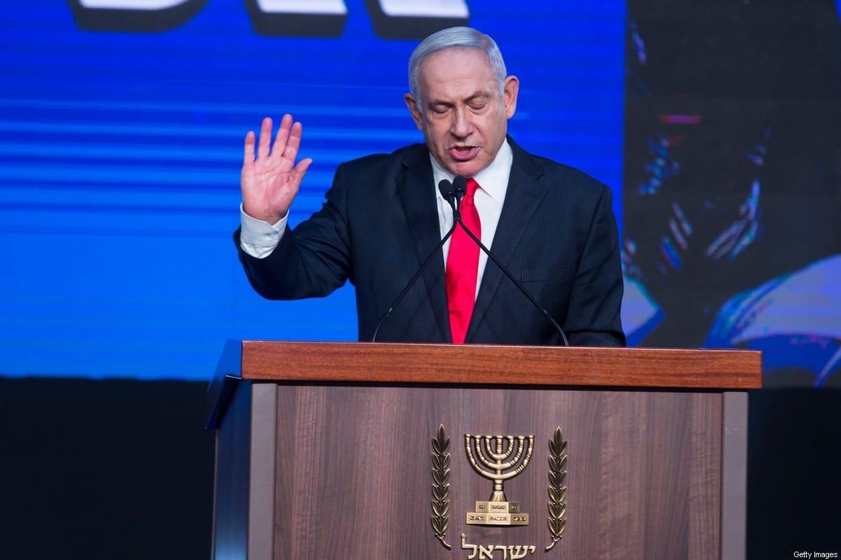 Israeli Prime Minster Benjamin Netanyahu speaks in the Likud party after vote event on March 24, 2021 in Jerusalem, Israel [Amir Levy/Getty Images]