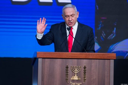 Israeli Prime Minster Benjamin Netanyahu speaks in the Likud party after vote event on March 24, 2021 in Jerusalem, Israel [Amir Levy/Getty Images]