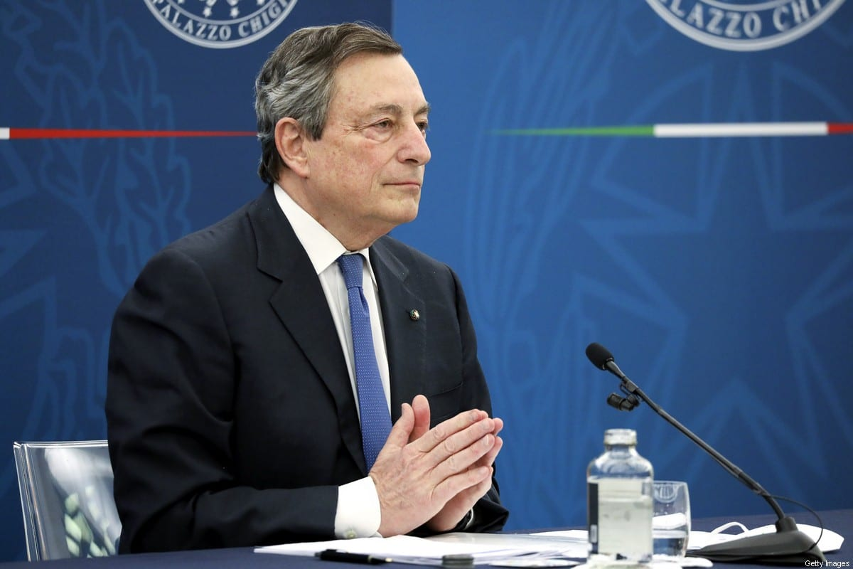 Mario Draghi, Italy's prime minister, speaks during a news conference in Rome, Italy, on Thursday, April 8, 2021 [Alessia Pierdomenico/Bloomberg via Getty Images]