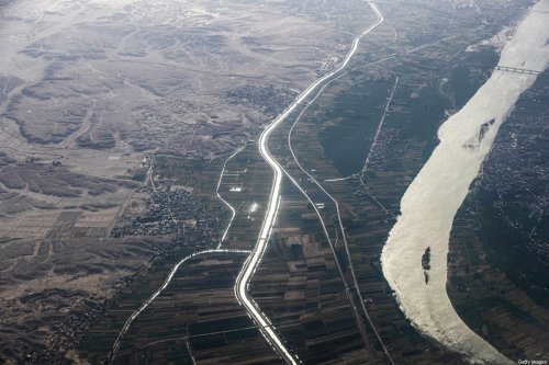 This picture taken on April 10, 2021 shows an aerial view of the Nile river passing by the countryside north (bottom) of Egypt's southern city of Qina (Qena). (Photo by Khaled DESOUKI / AFP) (Photo by KHALED DESOUKI/AFP via Getty Images)