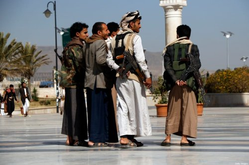 Houthi followers participate in a funeral of their fighters killed in the ongoing fighting between the Houthis group and forces of the government over the control of Yemen's oil-rich region of Marib, on March 20, 2021 in Sana'a, Yemen [Mohammed Hamoud/Getty Images]