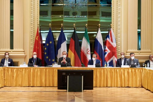 VIENNA, AUSTRIA - APRIL 06: In this handout provided by the EU Delegation in Vienna, Representatives of the European Union (L) and Iran (R) attend the Iran nuclear talks at the Grand Hotel on April 06, 2021 in Vienna, Austria. Representatives from the United States, Iran, the European Union, Russia, China and other participants from the original Joint Comprehensive Plan of Action (JCPOA) are meeting directly and indirectly over possibly reviving the plan. The JCPOA was the European-led initiative by which Iran agreed not to pursue a nuclear weapon in exchange for concessions, though the United States, under the administration of former U.S. President Donald Trump, abandoned the deal and intensified sanctions against Iran. (Photo by EU Delegation in Vienna via Getty Images)