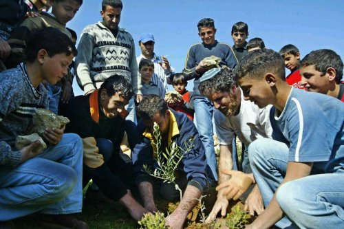 """Israeli Rabbi Arik Ascherman from """"Rabbis for Human Rights"""" plants an olive tree together with Palestinian residents of the West Bank village of Biddu, on 12 March 2004, during a protest against Israel's security barrier at the site where the work started. [GALI TIBBON/AFP via Getty Images]"""