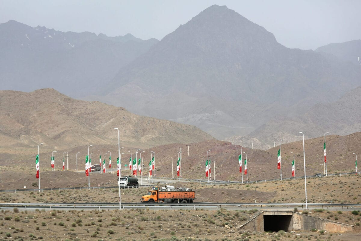 Iranian flags fly along the highway on June 3, 2014 in Natanz, Iran [John Moore/Getty Images]