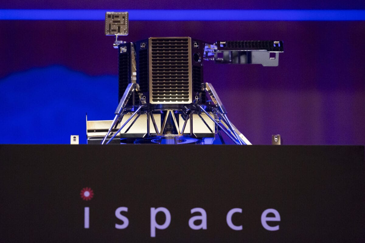 A concept model of Ispace Inc.'s new lunar lander is displayed during a news conference in Tokyo, Japan, on Wednesday, Dec. 13, 2017 [Tomohiro Ohsumi/Bloomberg via Getty Images]