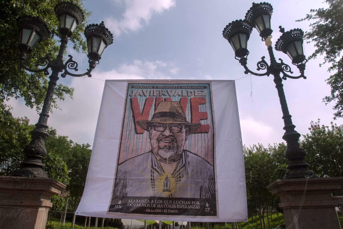 Picture of a banner placed by journalists from the state of Nuevo Leon during a tribute to slain fellow journalist Javier Valdez on May 15, 2018 [JULIO CESAR AGUILAR/AFP via Getty Images]