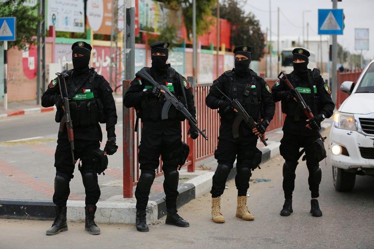 Palestinian group Hamas's military wing, Izz ad-Din al Qassam Brigades, patrol at a street in Gaza City, Gaza on April 23, 2021 [Ashraf Amra/Anadolu Agency]