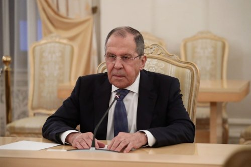Russian Foreign Minister Sergei Lavrov meets Libya's Prime Minister Abdul Hamid Dbeibeh (not seen) in Moscow, Russia on 15 April 2021.[ Russian Foreign Ministry - Anadolu Agency ]