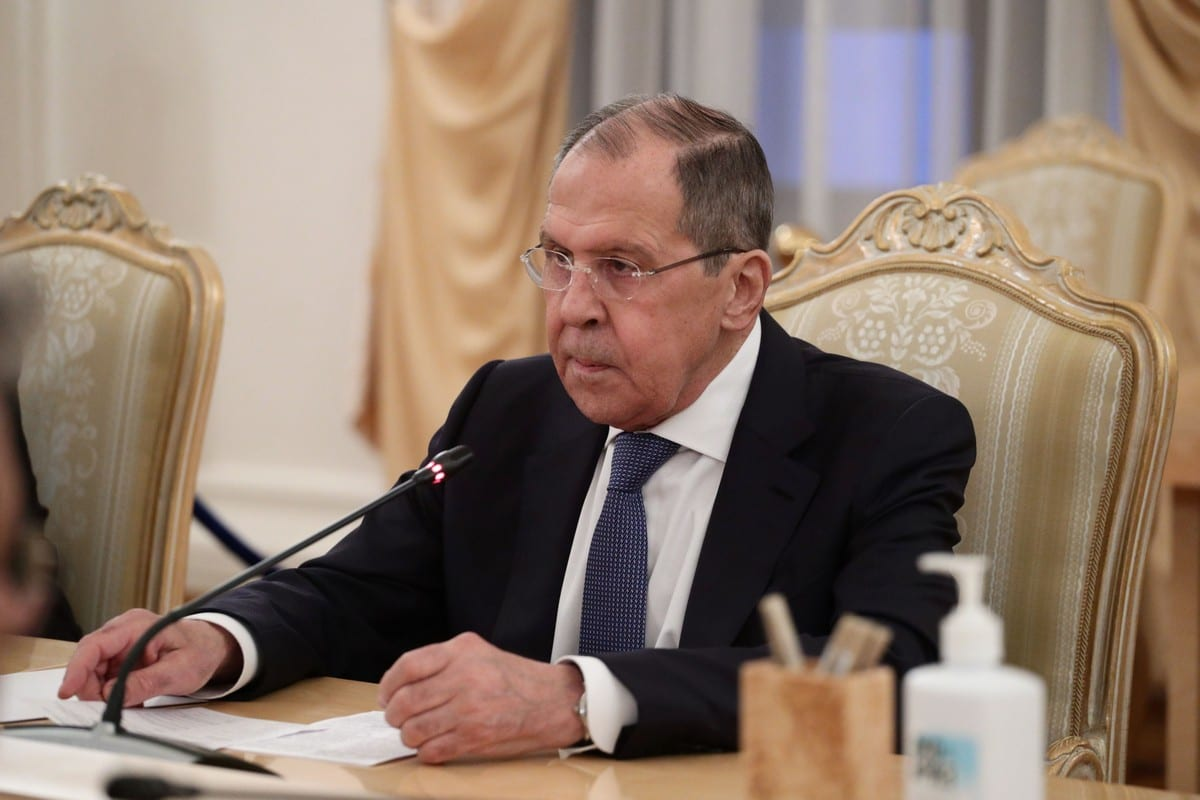 Russian Foreign Minister Sergei Lavrov meets Libya's Prime Minister Abdul Hamid Dbeibeh (not seen) in Moscow, Russia on 15 April 2021. [Russian Foreign Ministry - Anadolu Agency]