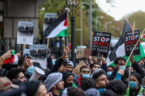 """People participate in """"Protest for Jerusalem"""" outside the Israeli Embassy in London, United Kingdom on May 9, 2021 [Vudi Xhymshiti/Anadolu Agency]"""