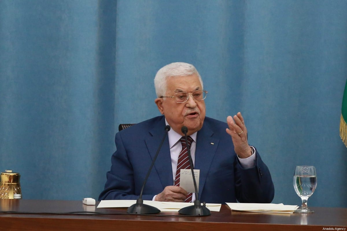 Palestinian President Mahmoud Abbas in Ramallah, West Bank on May 12, 2021 [Issam Rimawi/Anadolu Agency]
