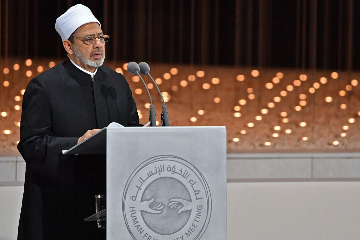 Egypt's Azhar Grand Imam Sheikh Ahmed al-Tayeb delivers a speech during the Founders Memorial event in Abu Dhabi on February 4, 2019 [VINCENZO PINTO/AFP via Getty Images]