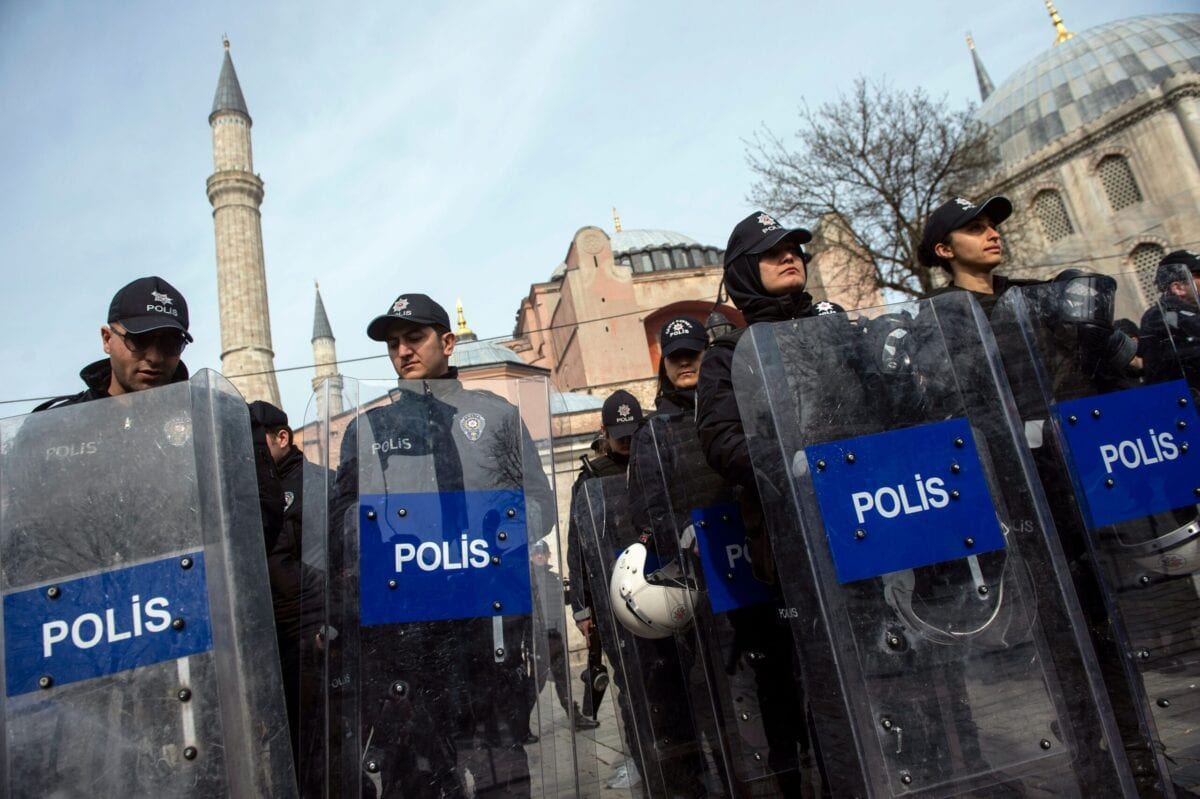 Turkish police officers stand guard outside Istanbul's Hagia Sophia on March 16, 2019 in Istanbul [YASIN AKGUL/AFP via Getty Images]