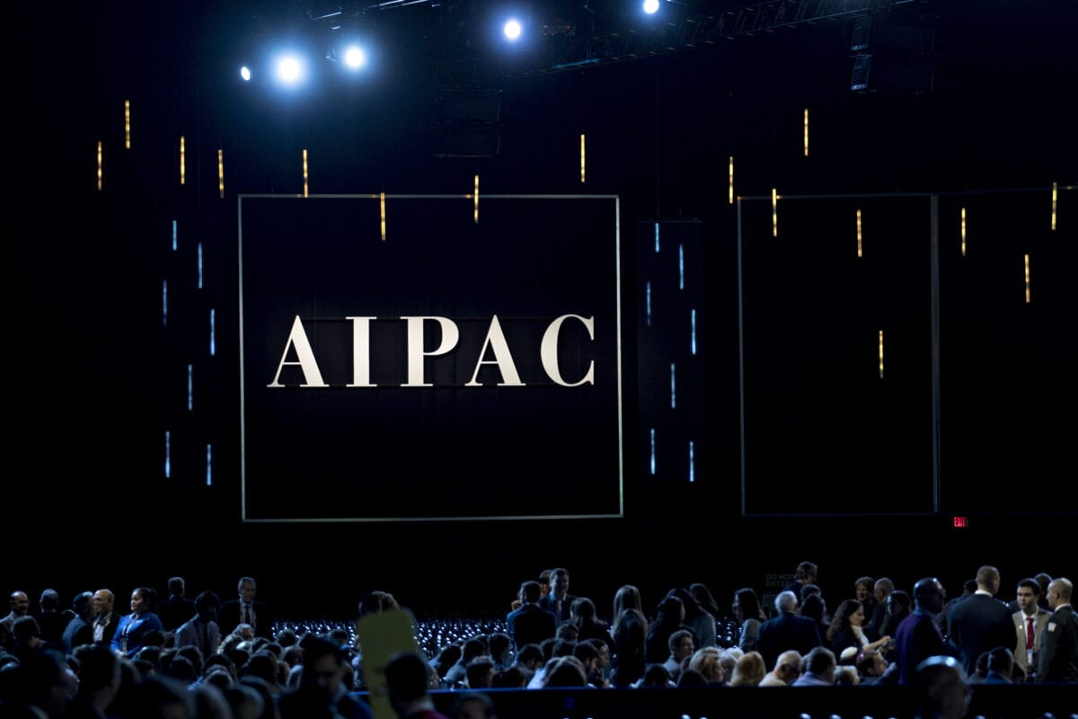 The AIPAC logo is displayed during the policy conference in Washington, D.C., U.S., on Monday, March 25, 2019. The pro-Israel lobbying group's three-day meeting in Washington kicked off Sunday and features speeches from Vice President Mike Pence, Secretary of State Michael Pompeo, and the Democratic and Republican leaders of the House and Senate, as well as Israeli officials. Photographer: Andrew Harrer/Bloomberg via Getty Images