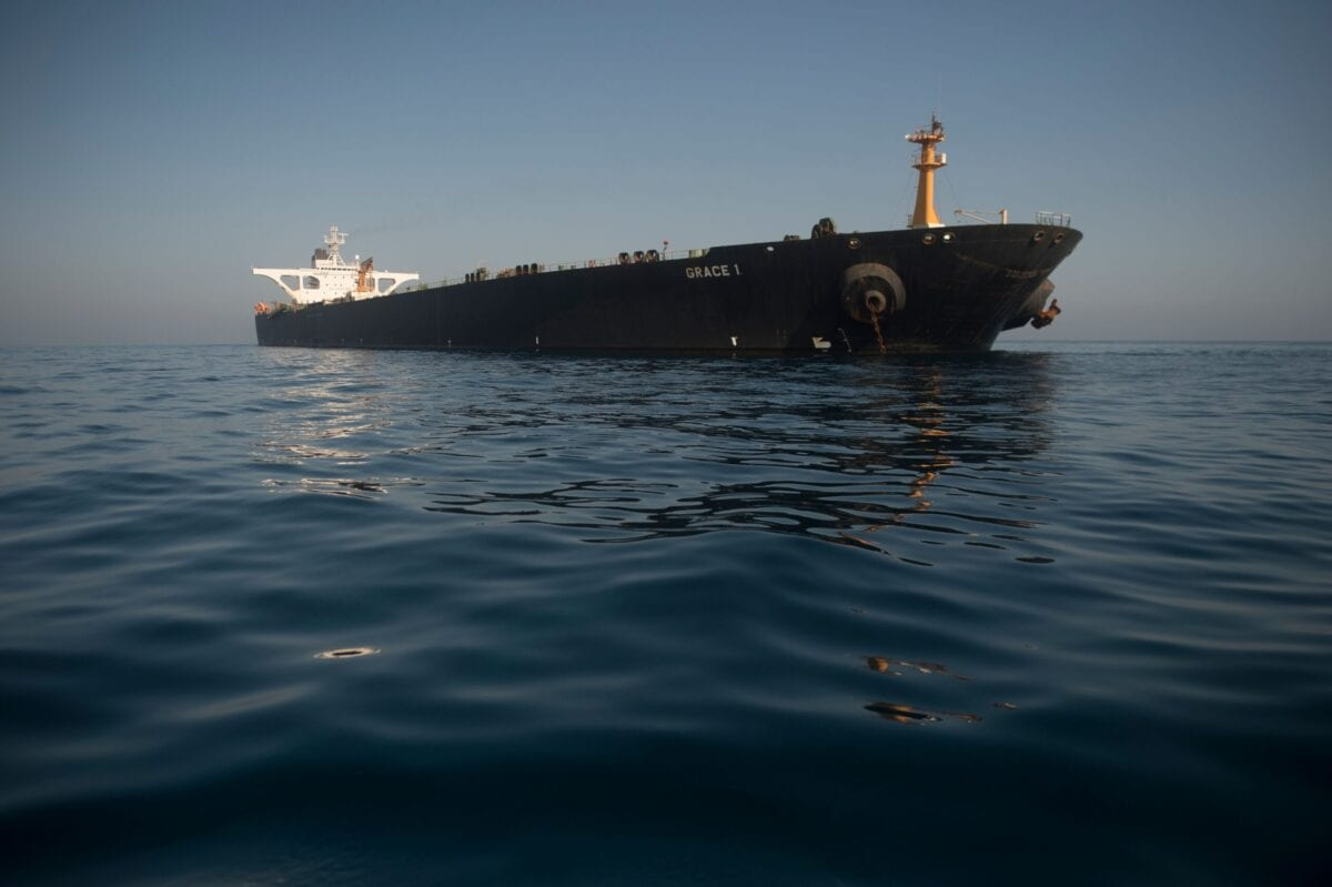 Picture shows Iranian supertanker Grace 1 off the coast of Gibraltar on August 15, 2019 [JORGE GUERRERO/AFP via Getty Images]
