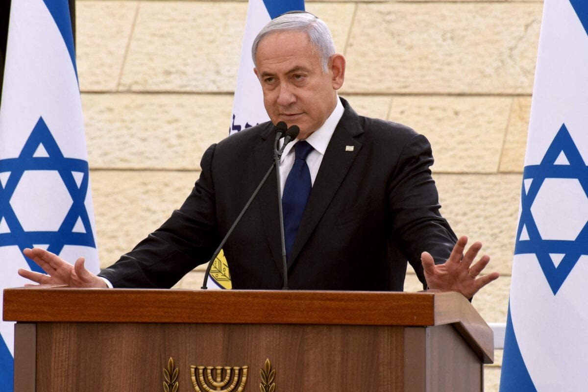 Israeli Prime Minister Benjamin Netanyahu in Jerusalem on April 13, 2021 [DEBBIE HILL/POOL/AFP via Getty Images]