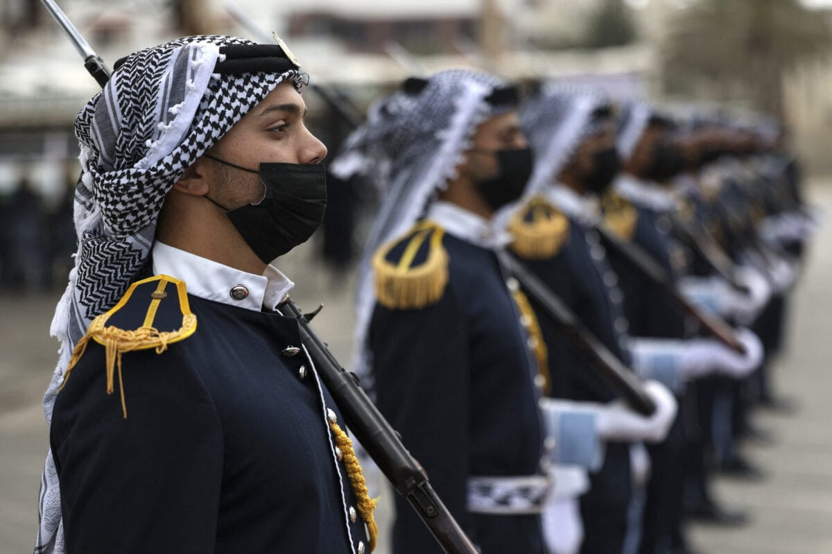 Palestinian members of Hamas' security forces on April 26, 2021 [MAHMUD HAMS/AFP via Getty Images]