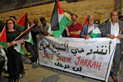 Palestinians in Bethlehem, in the occupied West Bank, stage a protest in solidarity with Palestinian residents of the east Jerusalem neighbourhood of Sheikh Jarrah on May 10, 2021 [HAZEM BADER/AFP via Getty Images]